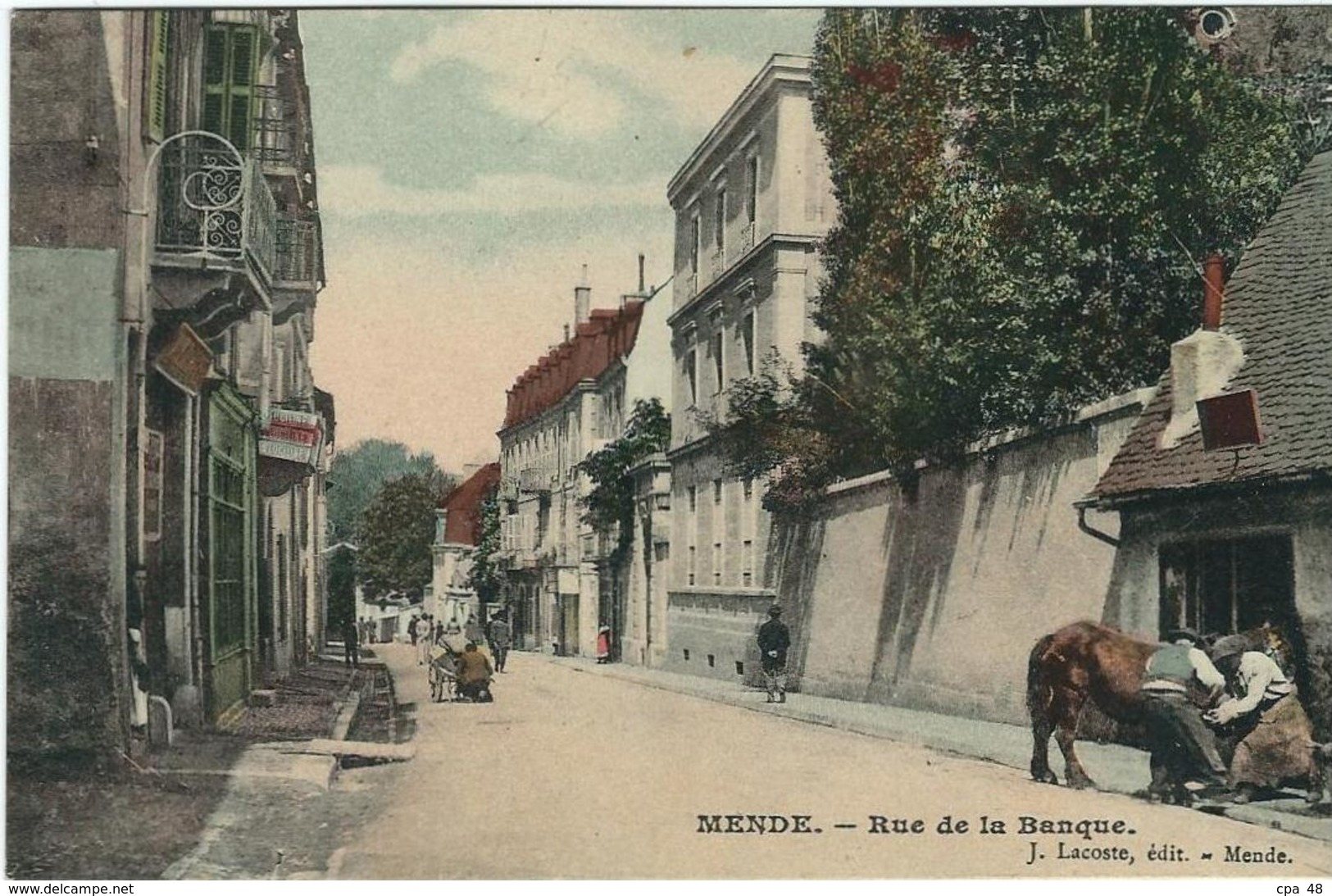 Lozere : Mende, Rue De La Banque, Belle Carte Couleur - Mende