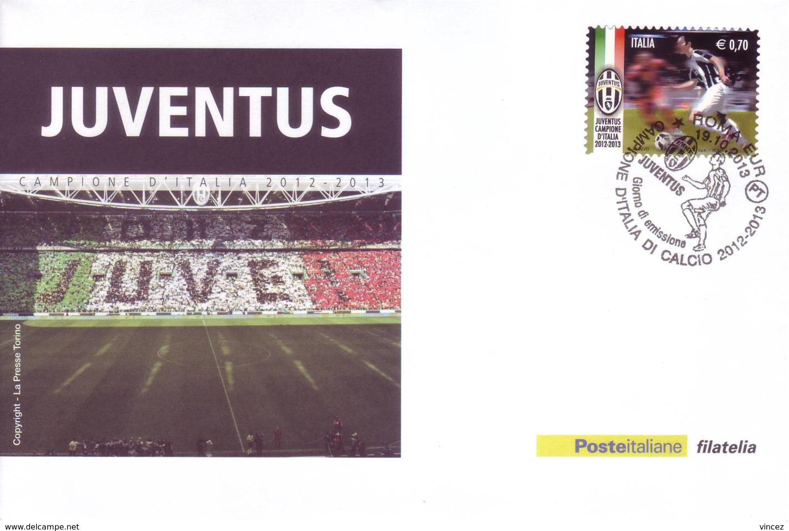 Italia 2013 - Juventus Campione, Su Cartoline Affrancata E Con Annullo Speciale - Beroemde Teams