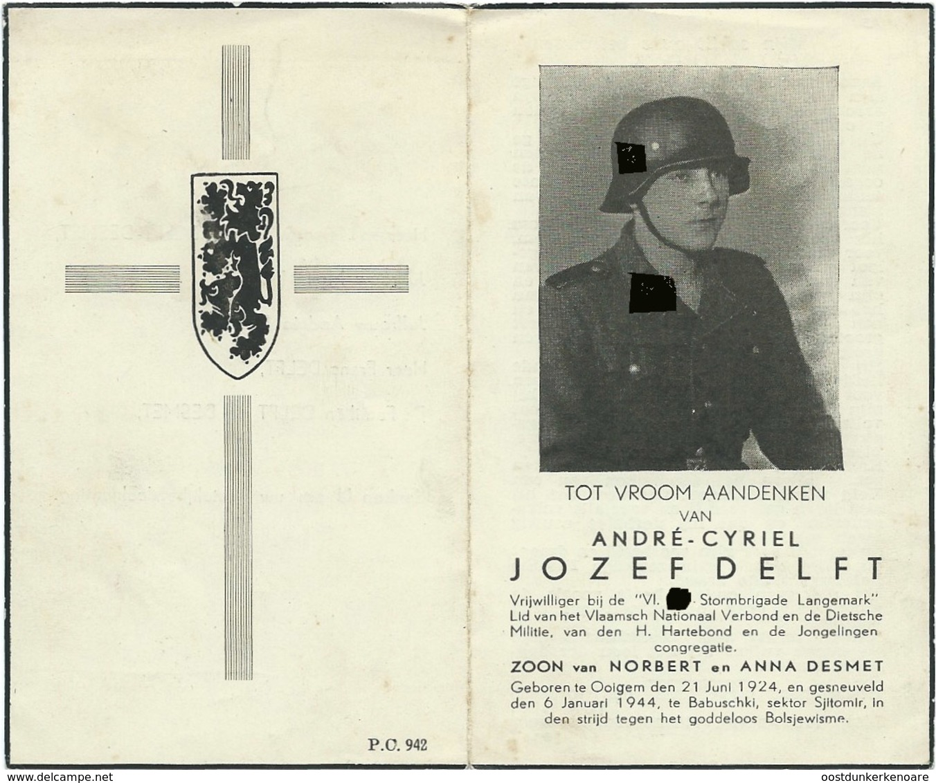 Doodsprentje: DELFT Jozef: ° Ooigem,1924 Gesneuveld Babuschki, 6 Januari 1944. Zn Van Norbert En Anna DESMET.Oostfronter - Religion & Esotericism