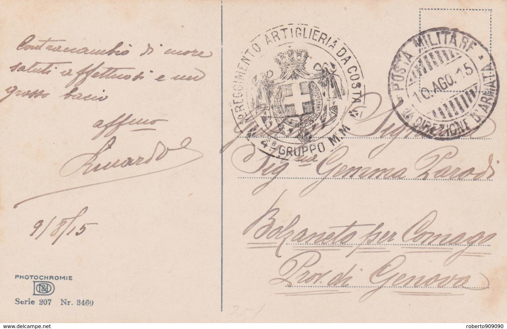 1915 POSTA MILITARE/1� DIREZIONE ARMATA (10.8.15) Su Cart. Ill. - 1900-44 Vittorio Emanuele III
