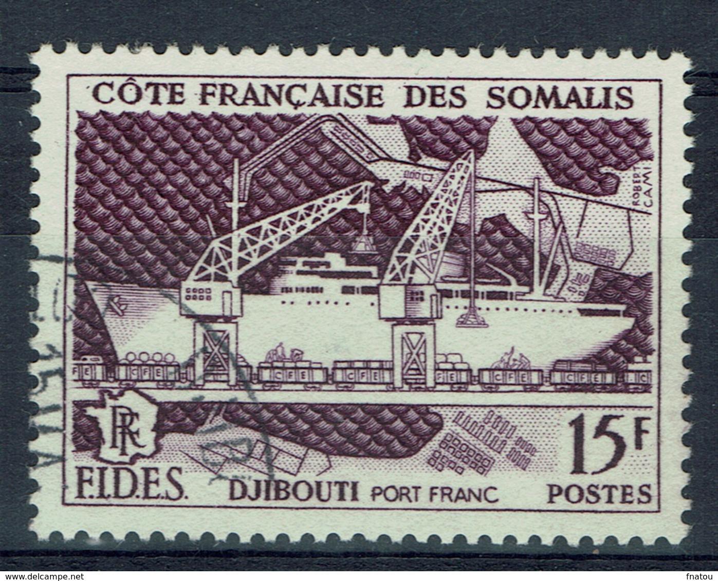 French Somali Coast, Port Of Djibouti, FIDES, 1956, VFU - French Somali Coast (1894-1967)