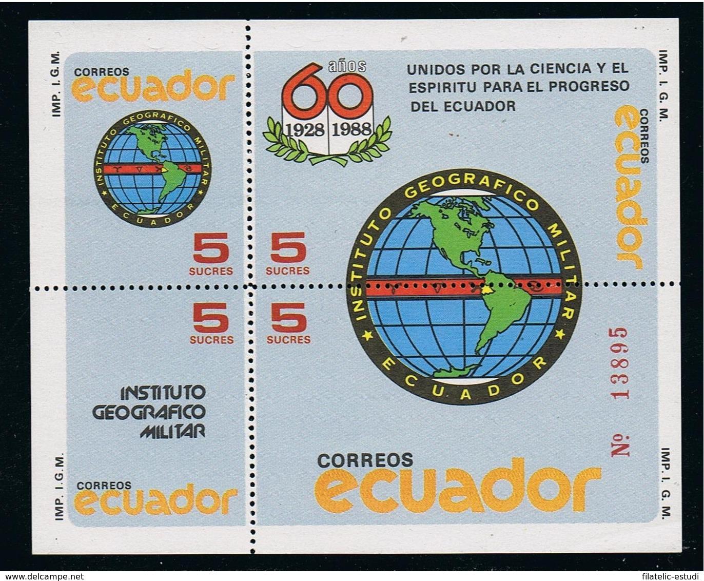 Ecuador Hojita Block 78 1988 Instituto Geográfico Militar MNH - Non Classificati
