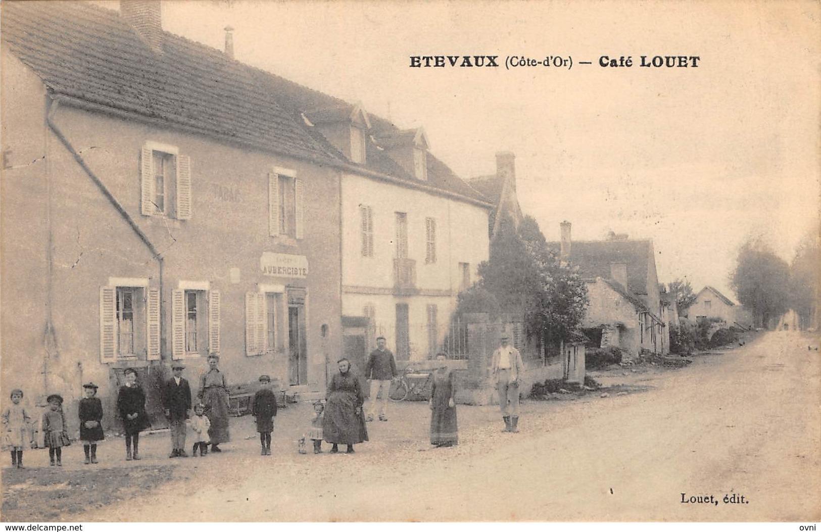 21 - CPA ETEVAUX Café Louet  RARE - Frankreich