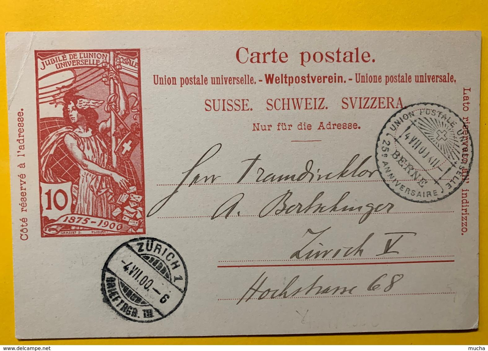 9266 - Jubilé UPU 10 Ct Carmin Cahet Officiel Du Jubilé 04.07.1900 - Entiers Postaux
