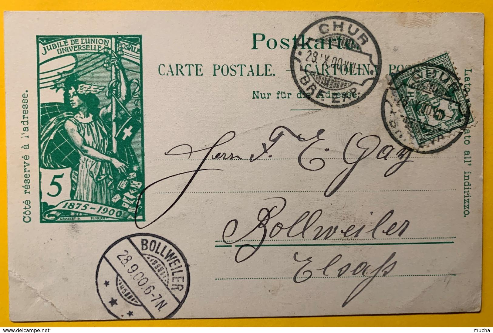 9275 - Jubilé UPU 28.09.1900 Cachet Chur Lame De Rasoir Pour Bollweiler Alsace - Entiers Postaux