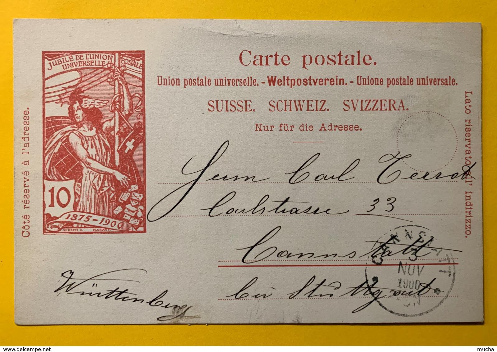 9279 - Jubilé UPU 10 Ct Carmin Pas De Lieu De Dépôt Arrivée Cannstatt Allemagne 3.11.1900 - Entiers Postaux
