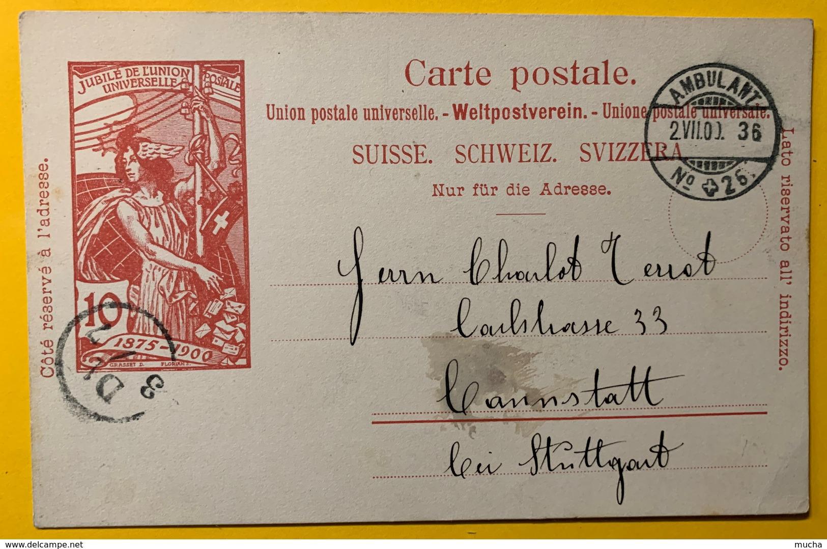 9281 - Jubilé UPU 10 Ct Carmin Ambulant  1er Jour 02.07.1900  Pour L'Allemagne - Entiers Postaux