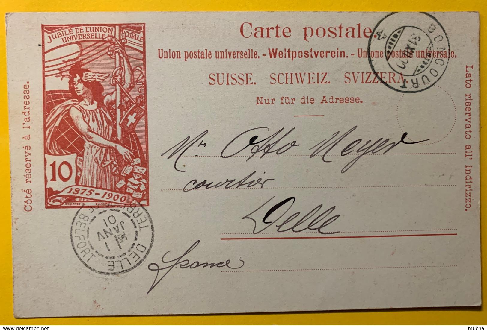 9283 - Jubilé UPU 10 Ct Carmin Boncourt 31.12.1900 Cachet D'arrivée Delle France 1.01.1901 - Entiers Postaux