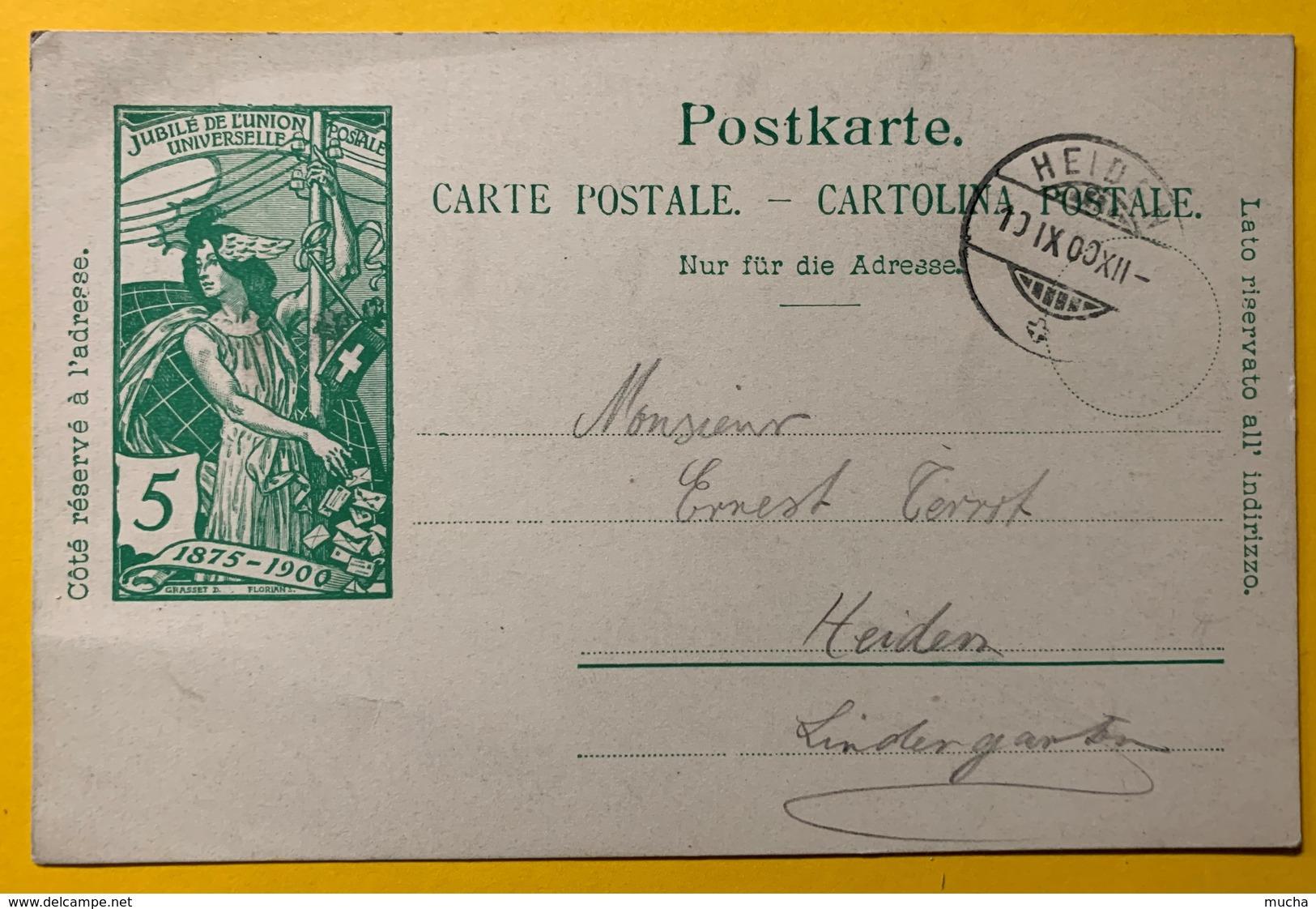 9285 - Jubilé UPU 5 Ct Vert Heiden 10.09.1900 - Entiers Postaux