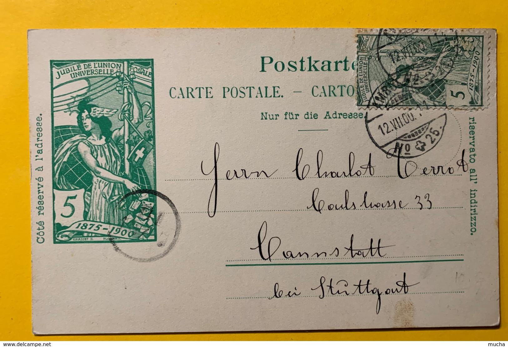 9286 - Jubilé UPU 5 Ct Vert + Timbre UPU Ambulant 12.07.1900 - Entiers Postaux