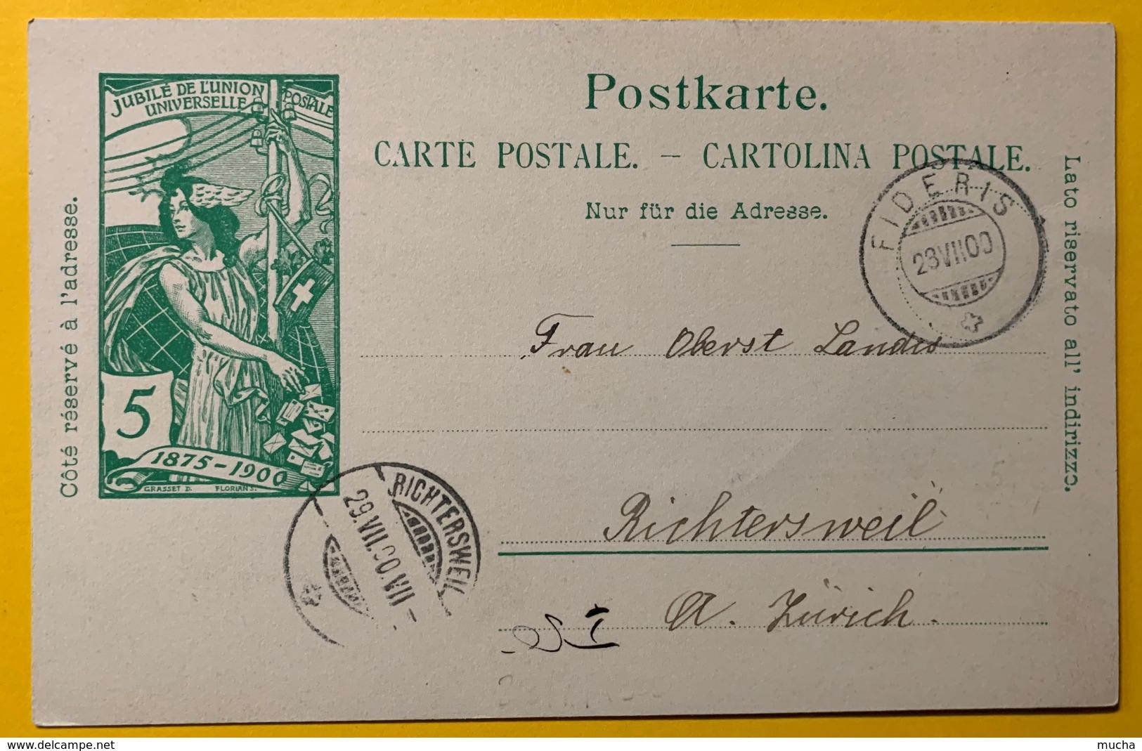 9287 - Jubilé UPU 5 Ct Vert Fideris 28.07.1900 Pour Richterswil - Entiers Postaux