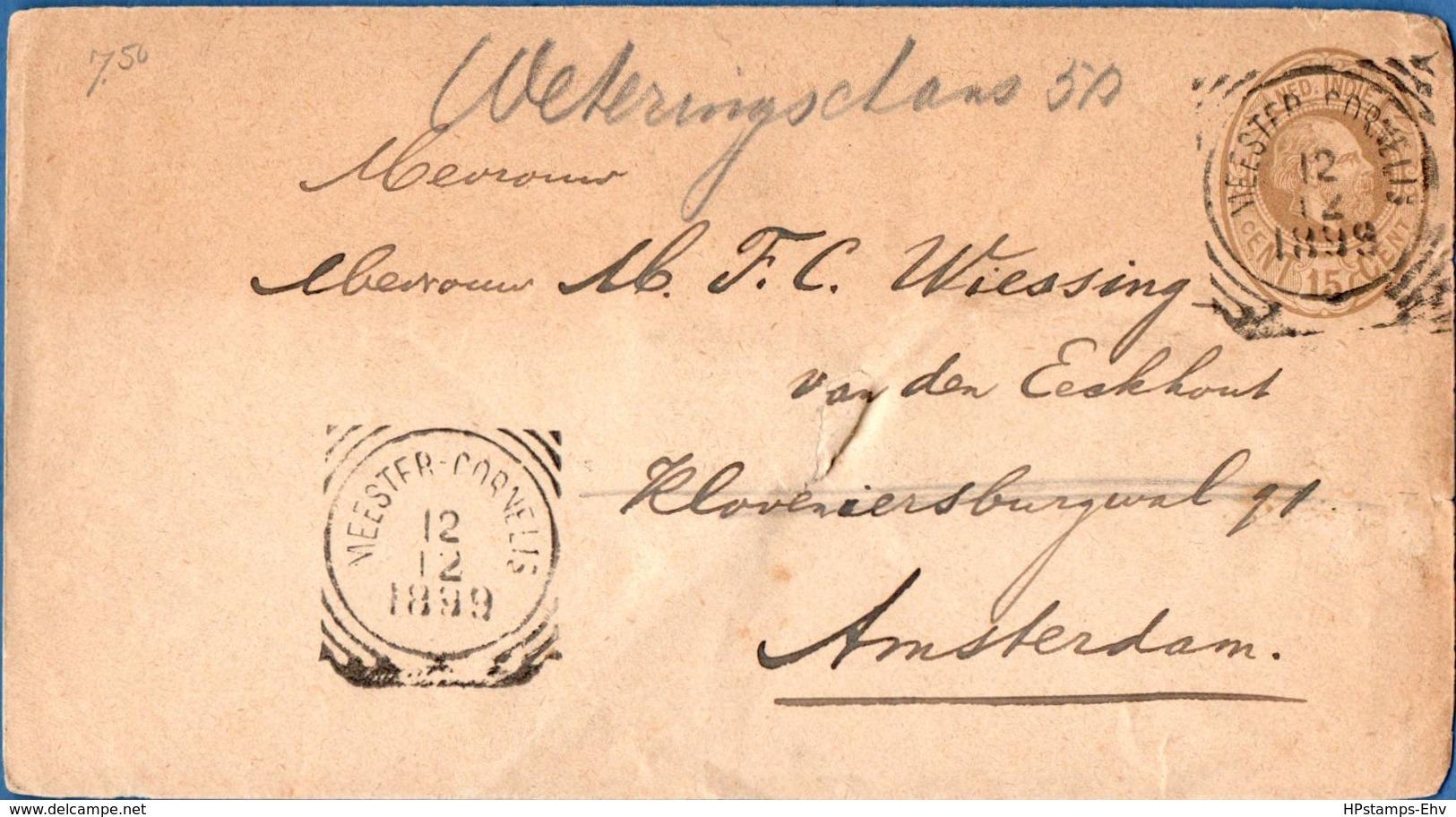 Dutch Indies 1899 15c Post. Stat Envelope Meester Cornelis To Amsterdam - 1911.2805 - Nederlands-Indië