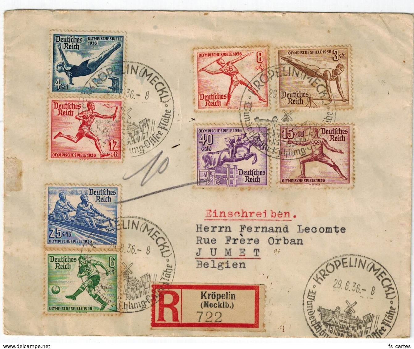 Deutsche Reich N°s 565/72 Sur Lettre Recommandée - Allemagne