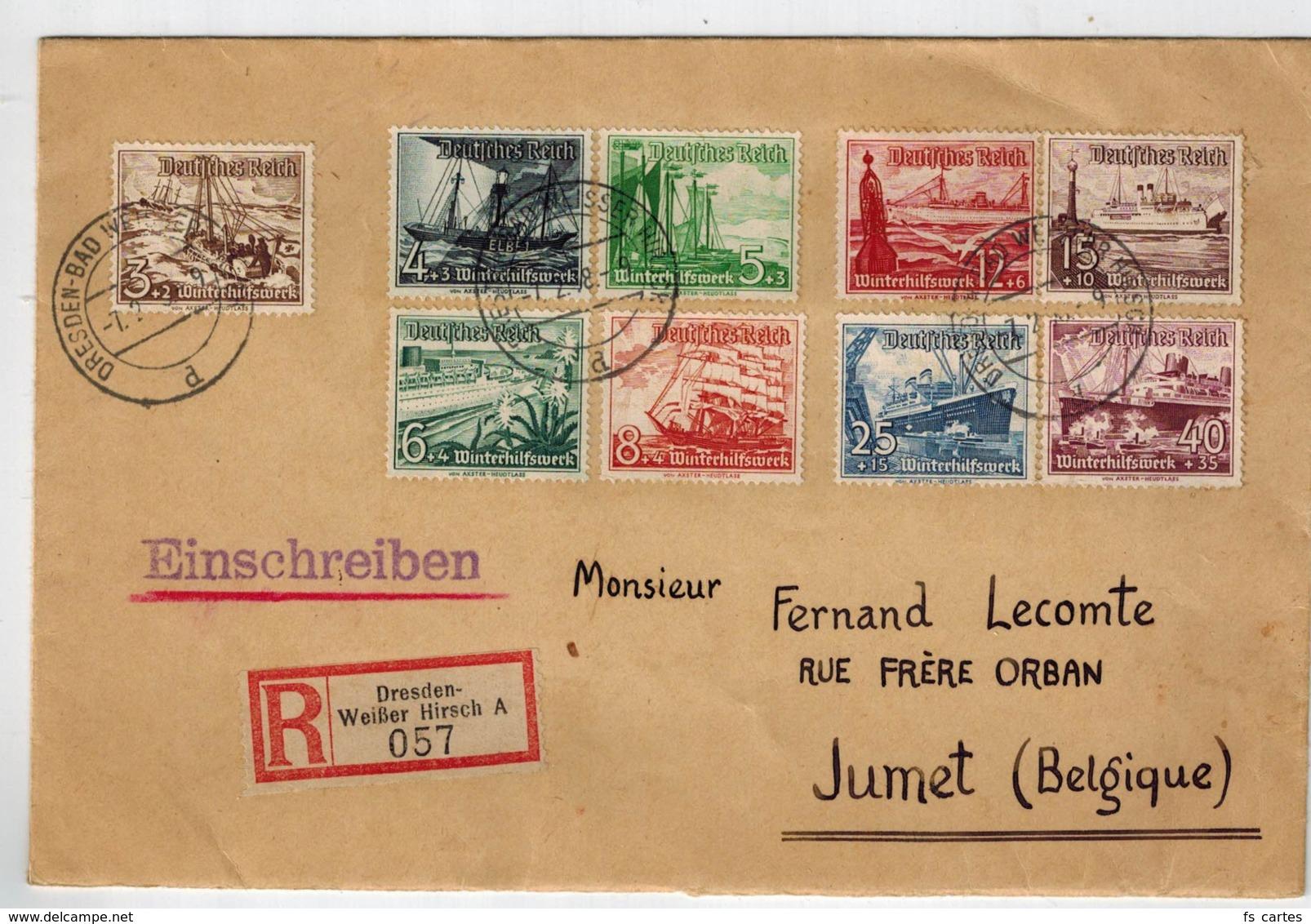 Deutsche Reich N°s 594/602 Sur Lettre Recommandée - Allemagne