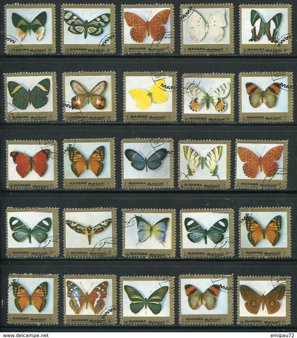 MANAMA- Divers Timbres Oblitérés (papillons) - Butterflies