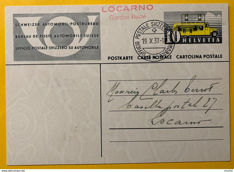 9312 - Ufficio Postale Mobile 19.10.1937 Locarno Giardini Nuovi - Interi Postali