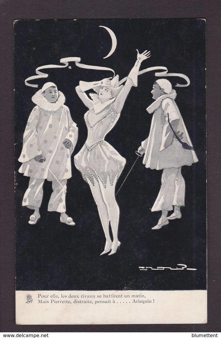 CPA Pierrot Colombine Arlequin Circulé - Phantasie