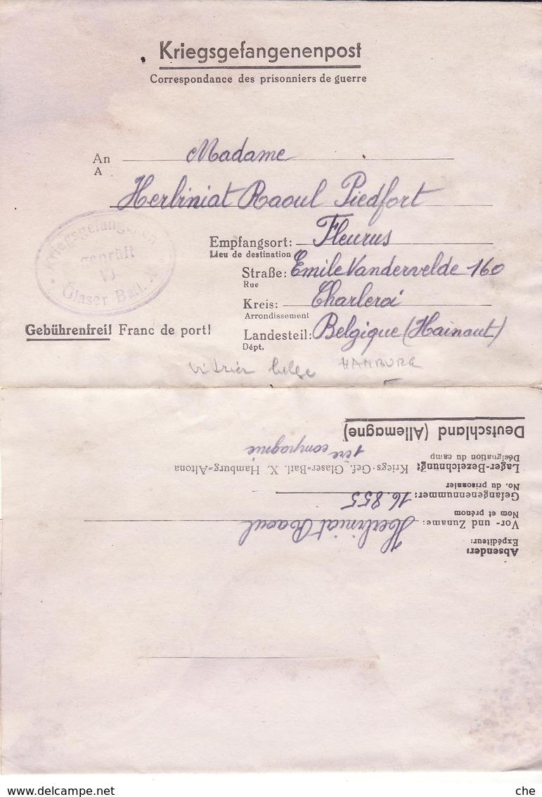 PRISONNIER DE GUERRE 40 45 STALAG LAGER CLASER BATL  X BREMEN VERS CHARLEROI CENSURE VI - Militaria