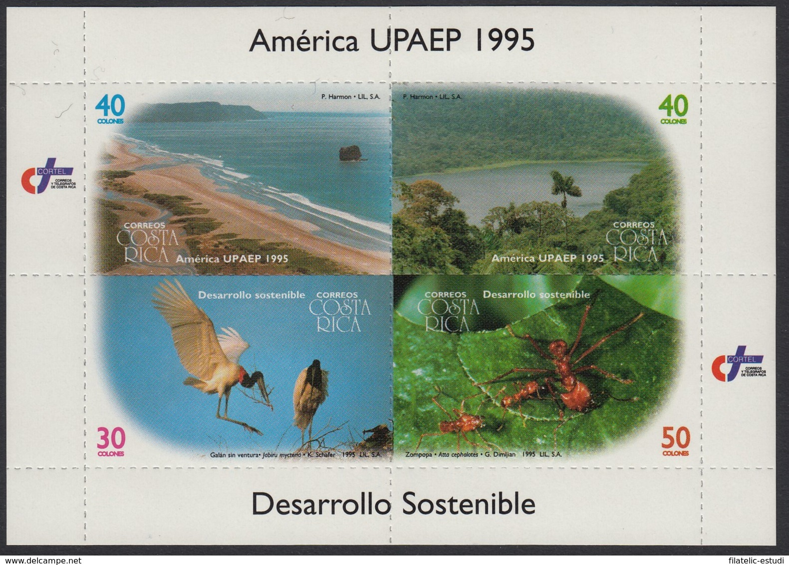 Upaep Costa Rica 597/600 1995 Litoral Río Fauna MNH - Non Classificati