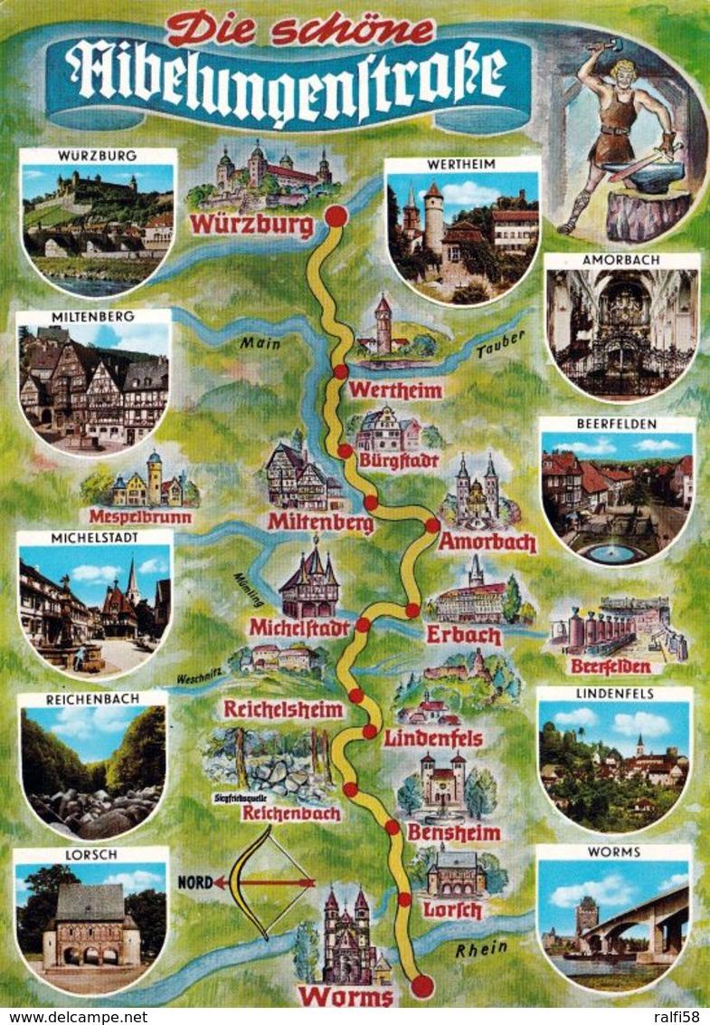 1 Map Of Germany * 1 Ansichtskarte Mit Der Landkarte - Die Schöne Nibelungenstraße * - Landkarten