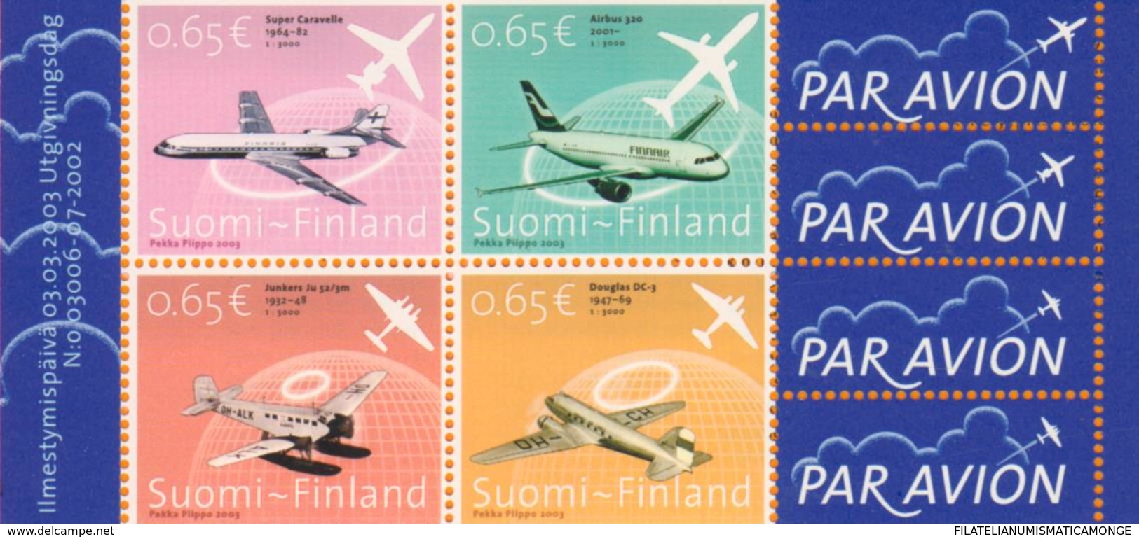 Finlandia 2003  Yvert Tellier  1607/10 Aviacion (4s) ** - Unused Stamps