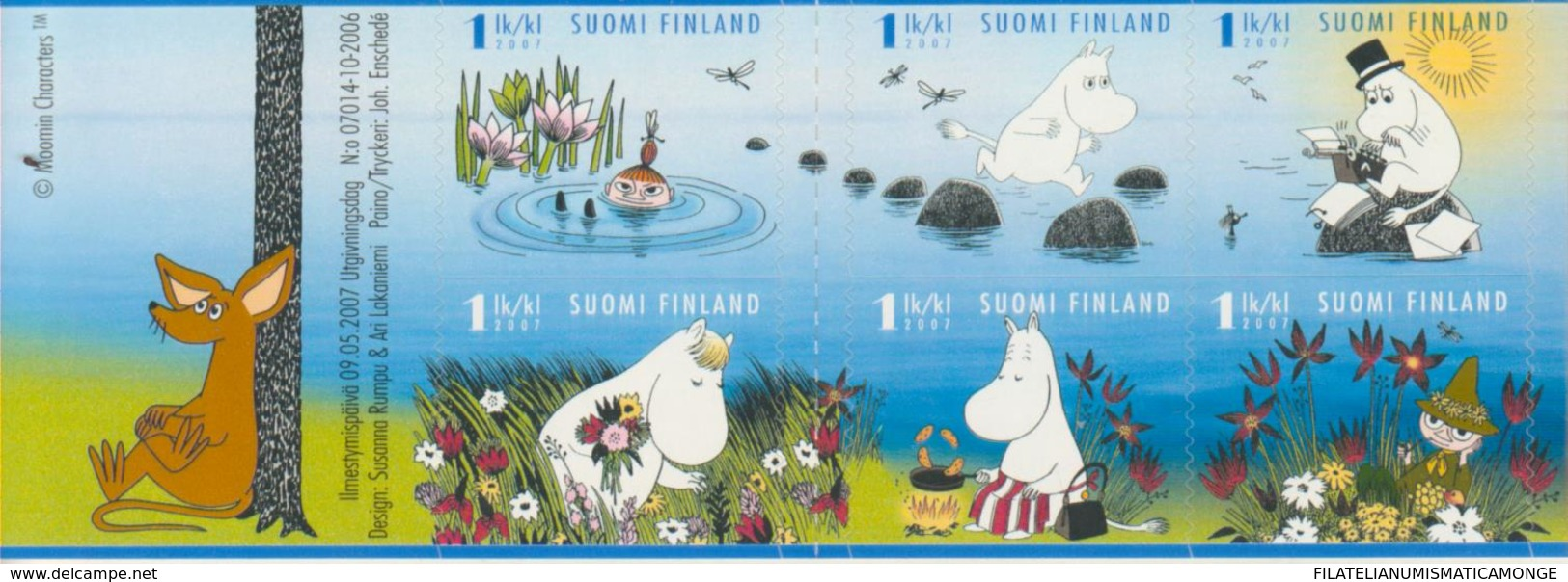 Finlandia 2007  Yvert Tellier  1820/25  Los Moumines (Dibujos) ** - Finland