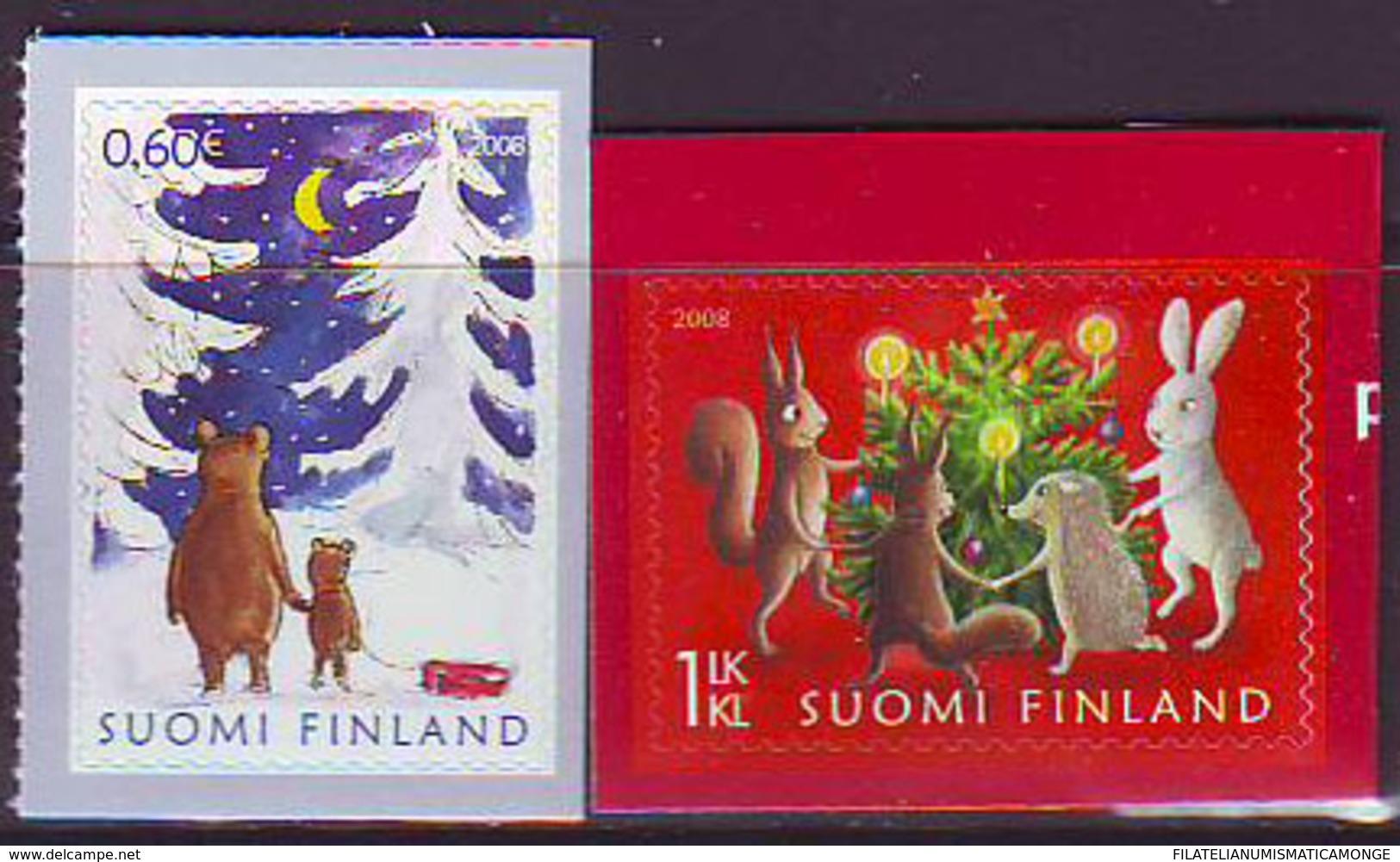 Finlandia 2008  Yvert Tellier  1904/05 Navidad/adhesivo (2s) ** - Unused Stamps