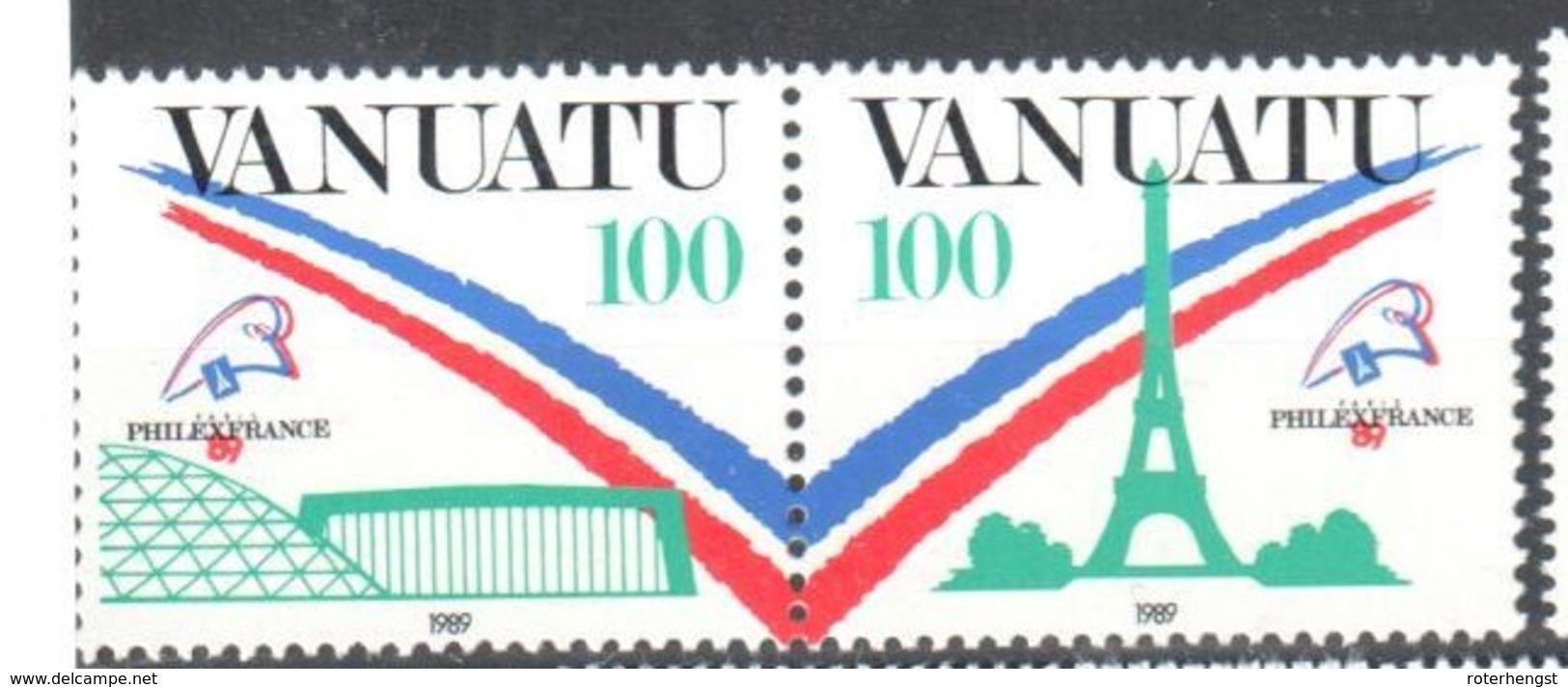 Vanuatu Pair Mnh ** Cat 3,2 Euros 1989 Eiffel Philexfrance - Vanuatu (1980-...)