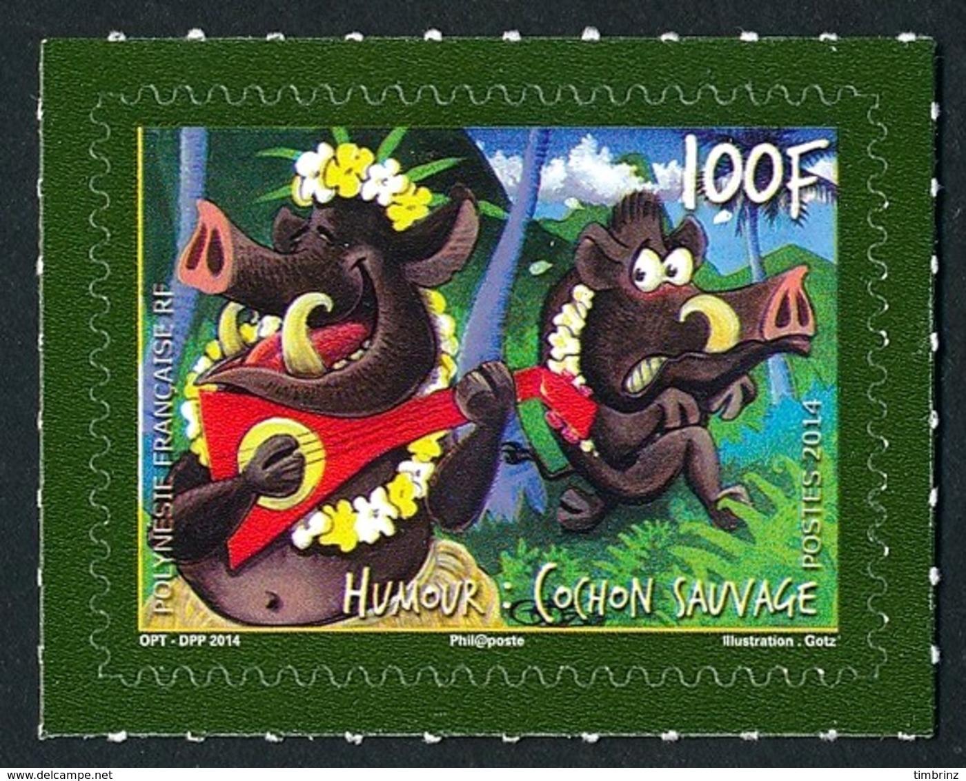 POLYNESIE 2014 - Yv. 1058 **  - Humour. Cochon Sauvage  ..Réf.POL24964 - Polynésie Française