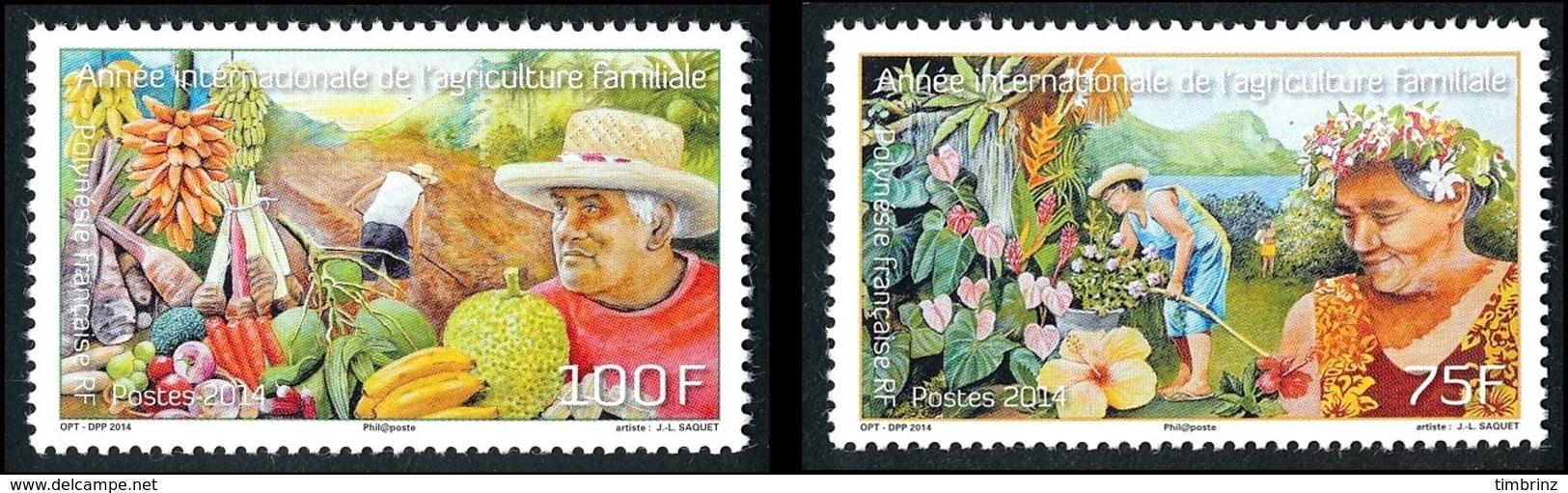 POLYNESIE 2014 - Yv. 1054 Et 1055 **  - Agriculture Familiale. Fleurs Et Fruits (2 Val.)  ..Réf.POL24962 - Französisch-Polynesien