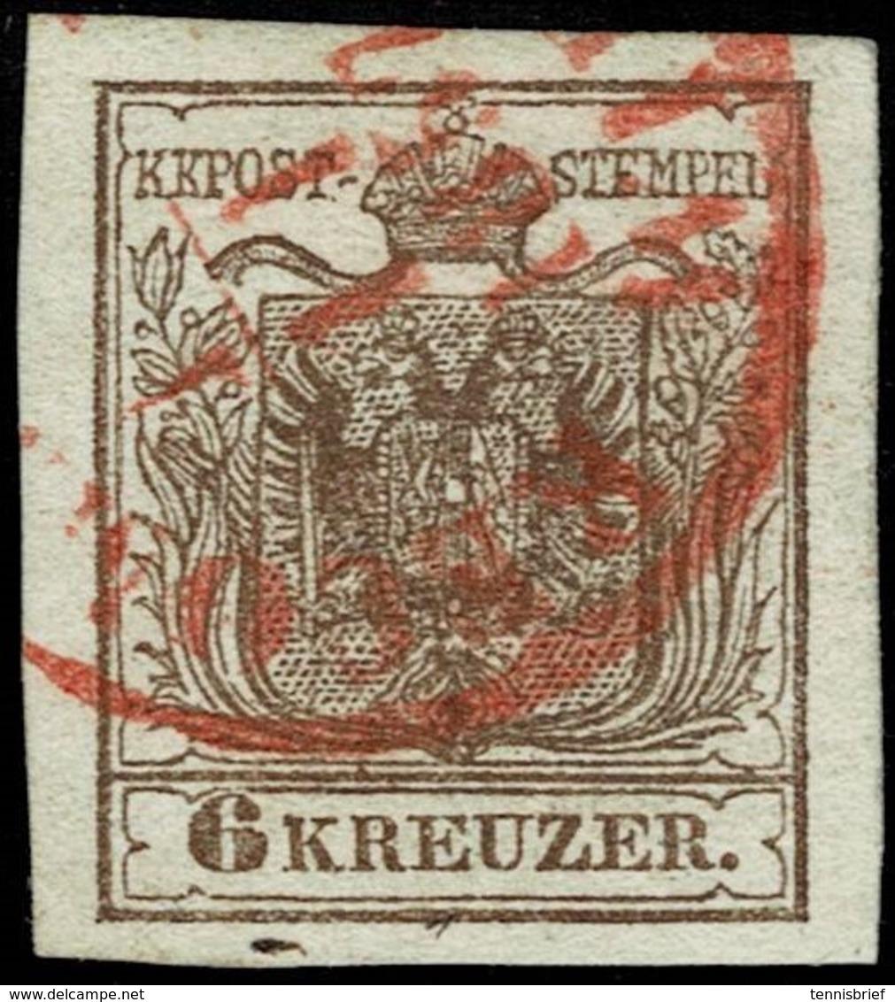 Ausg. 1850, Roter Stp. A. 6 Kr. , Befund!  , A2865 - 1850-1918 Empire