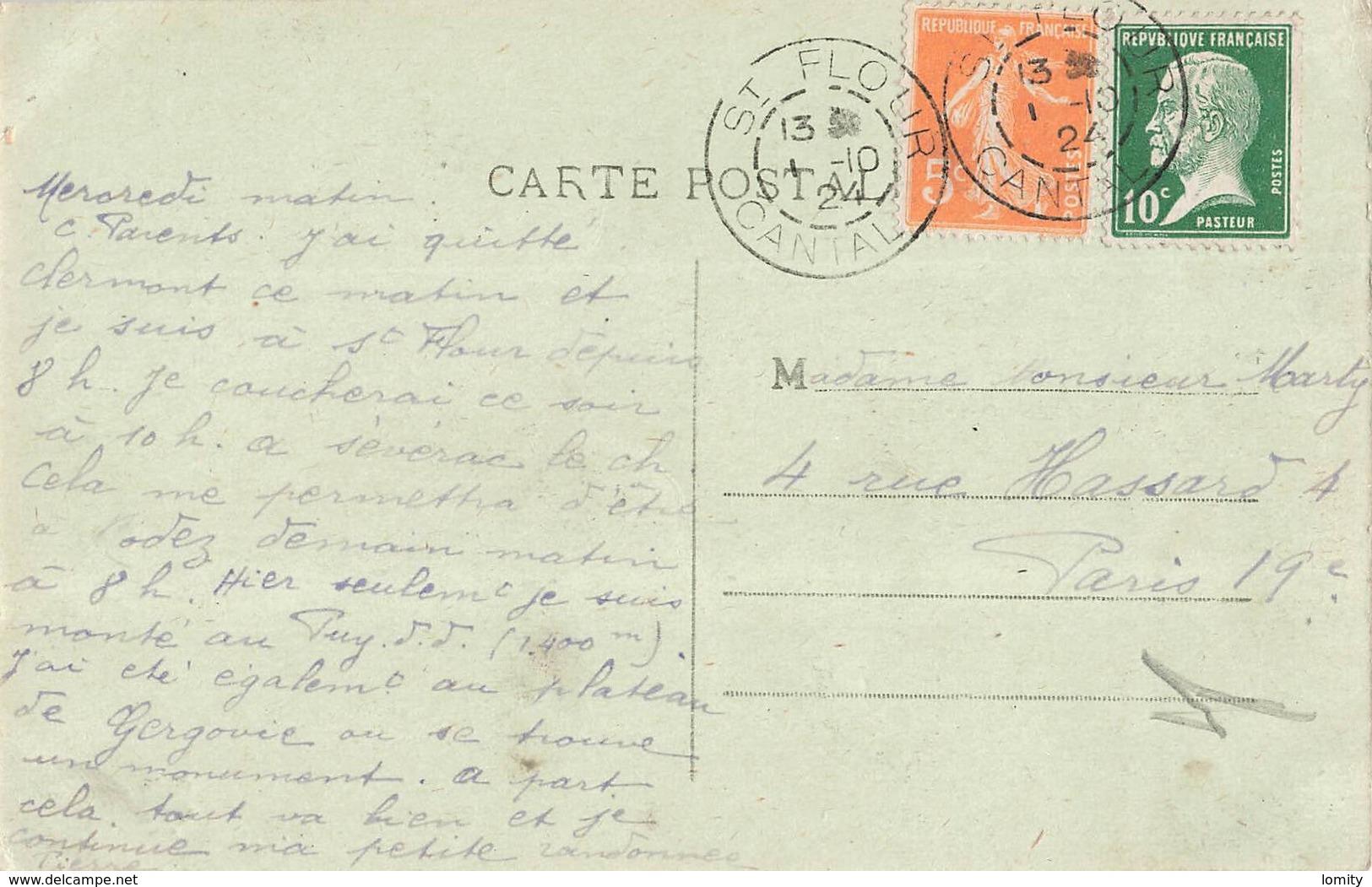 15 St Saint Flour Vue Générale Et La Gare Cachet 1924 Train Locomotive à Vapeur - Saint Flour