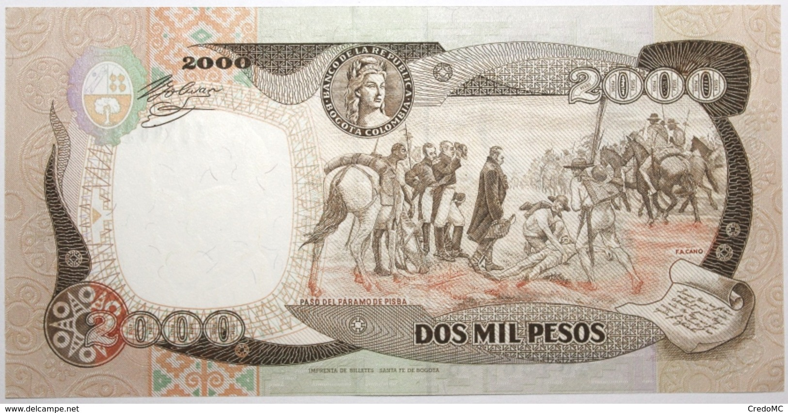 Colombie - 2000 Pesos Oro - 1993 - PICK 439a - NEUF - Colombia