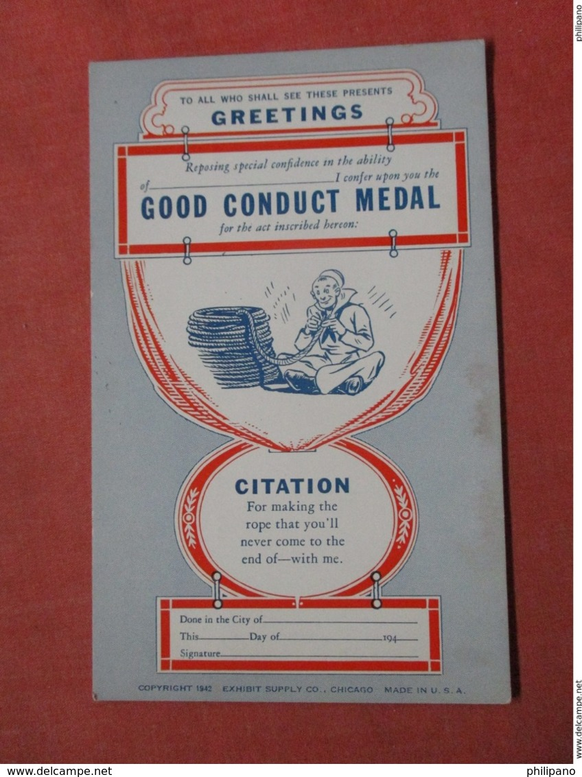 Citation- Good Conduct Medal   Ref 3739 - Humour