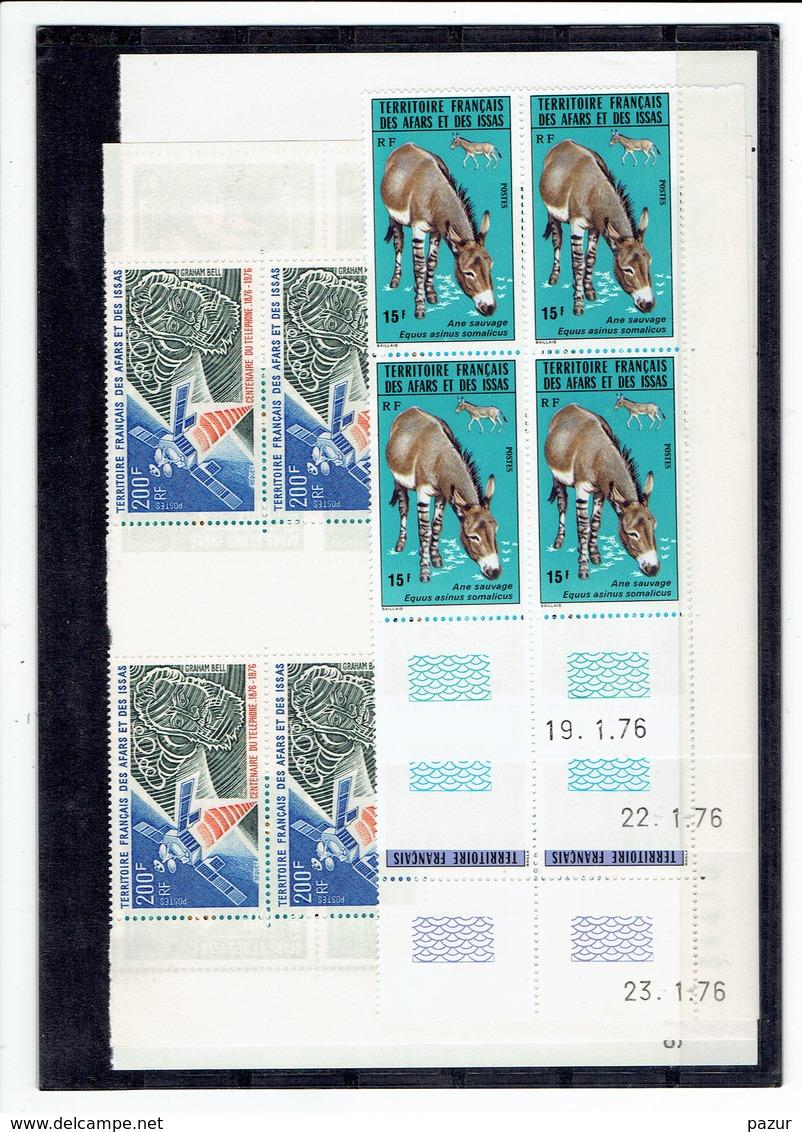 AFARS ET ISSAS - BLOCS DE 4 COINS DATES - TP N°416/418 - 419 - 420/421 - XX - Afars Y Issas (1967-1977)