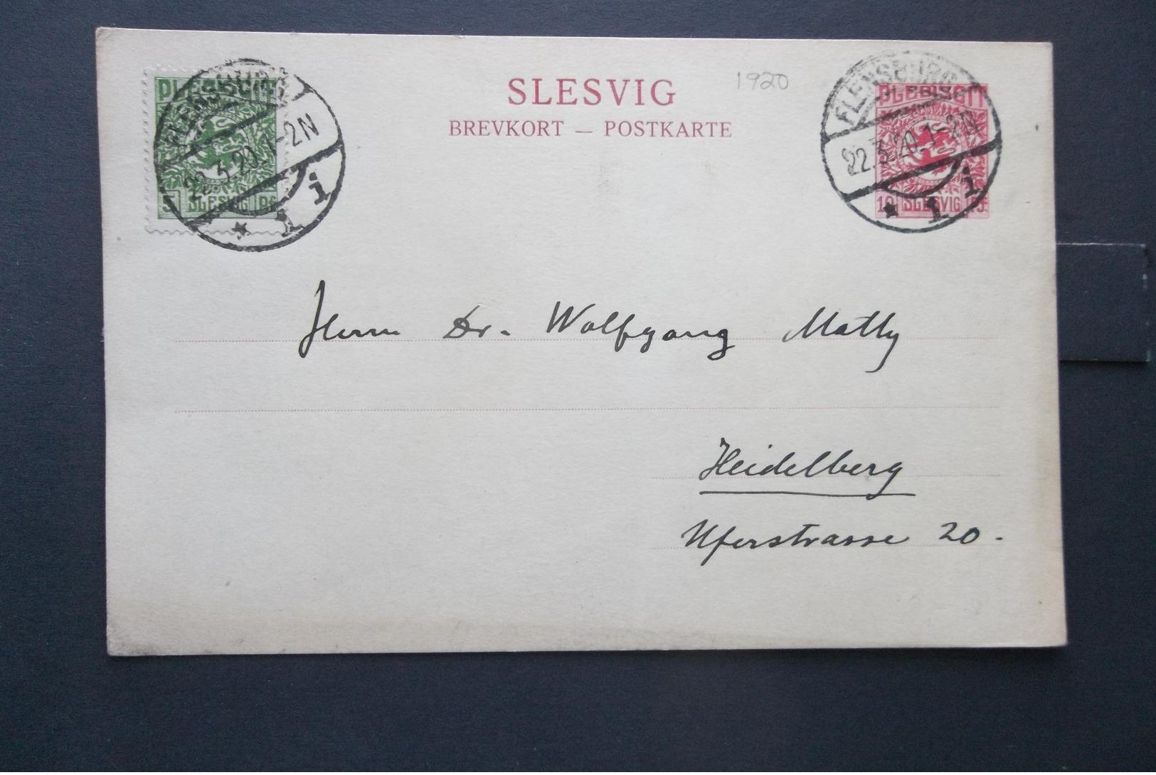 Slesvig: 1920 Uprated Card To Heidelberg (#QV3) - Schleswig-Holstein