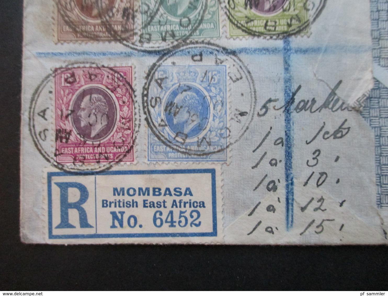 GB Kolonie Uganda Beleg Mit 5 Marken Stempel Mombasa Registered Mail Mombasa British East Africa Per SS Prinzregent Luit - Protettorati De Africa Orientale E Uganda