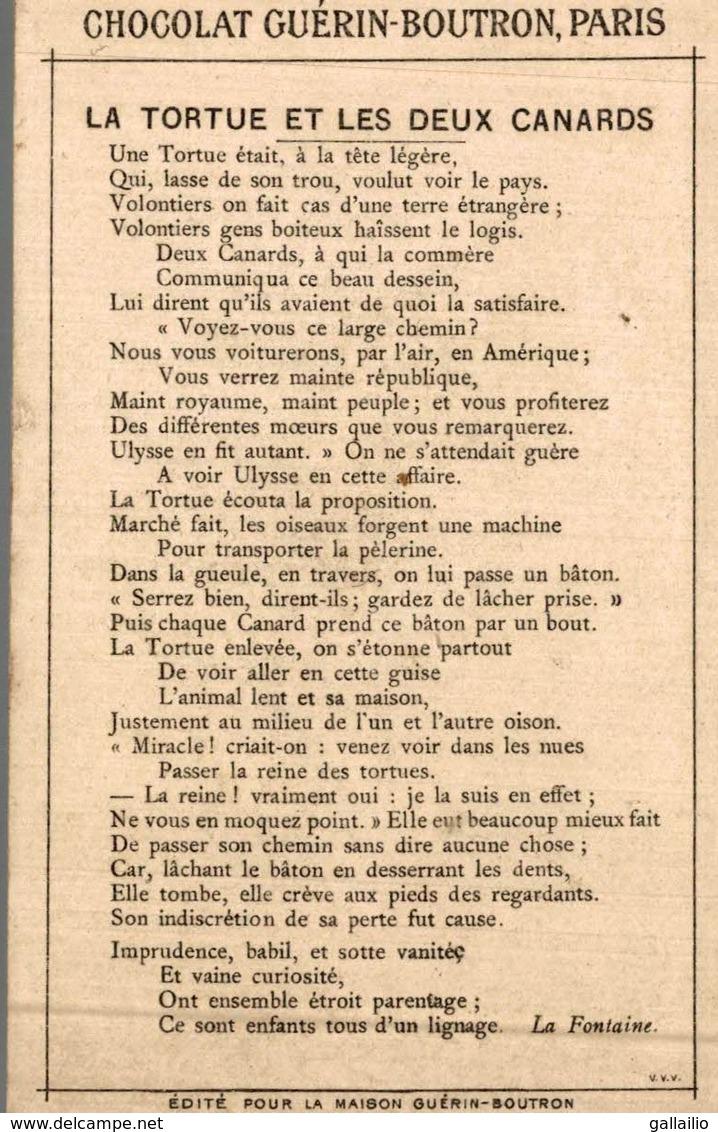 CHROMO CHOCOLAT GUERIN BOUTRON LA TORTUE ET LES DEUX CANARDS - Guerin Boutron