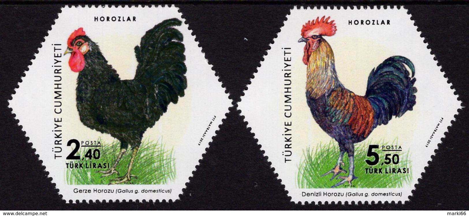 Turkey - 2019 - Roosters - Mint Stamp Set With Varnish - 1921-... Republik