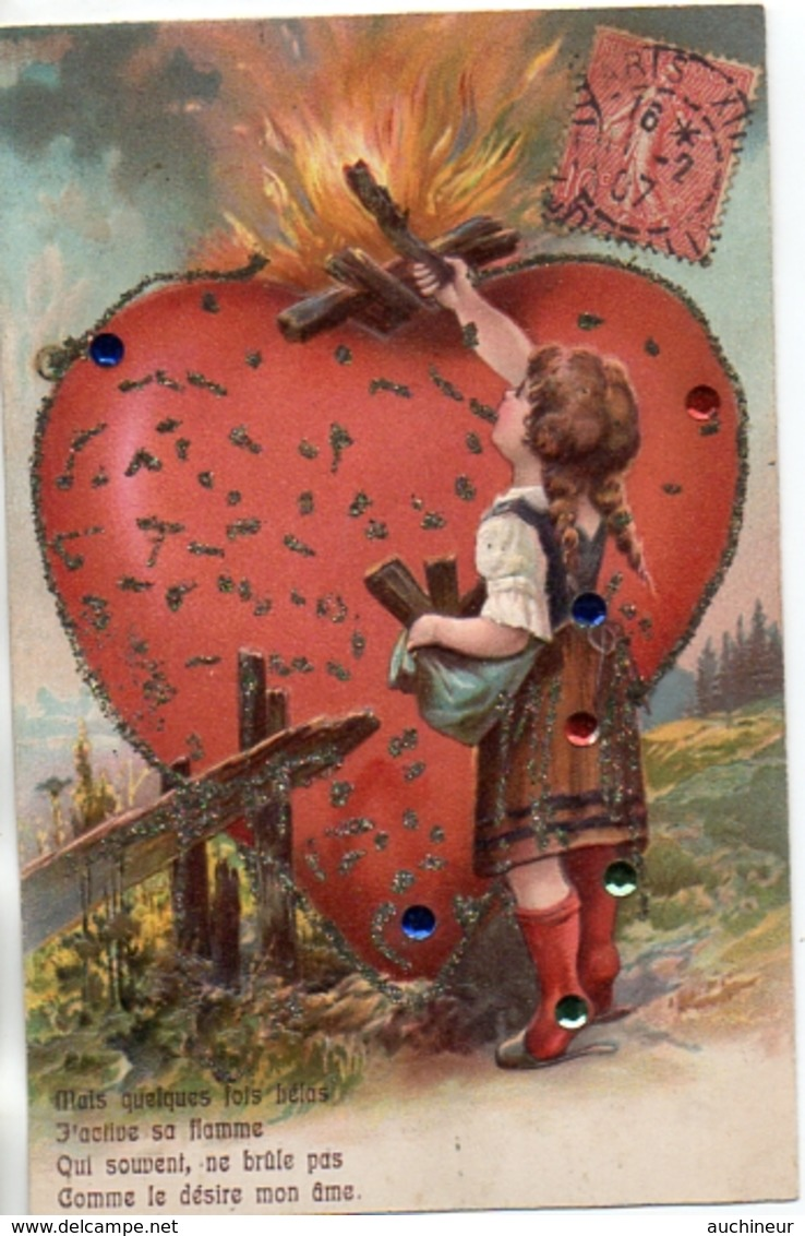 1, Coeur Sacré Coeur, Fillette Strass Et Paillettes Gaufrée - Fancy Cards