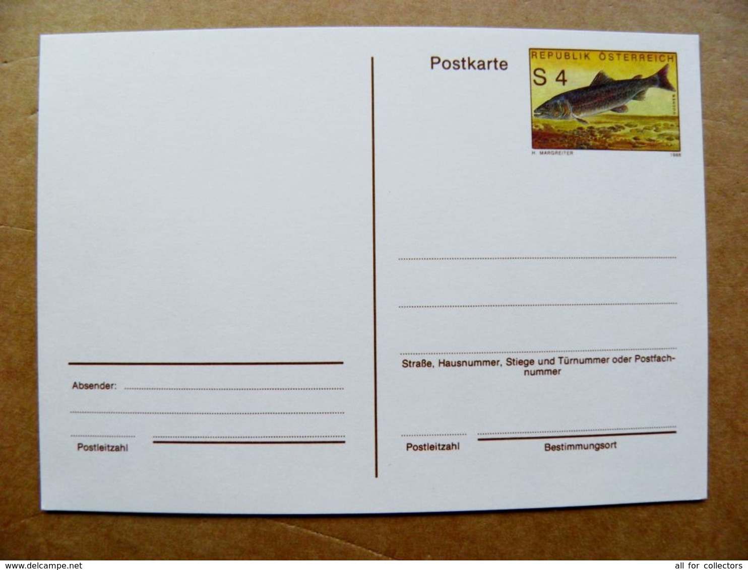 Postal Stationery Post Card Karte Austria Animals Fish Poisson 1988 - Entiers Postaux