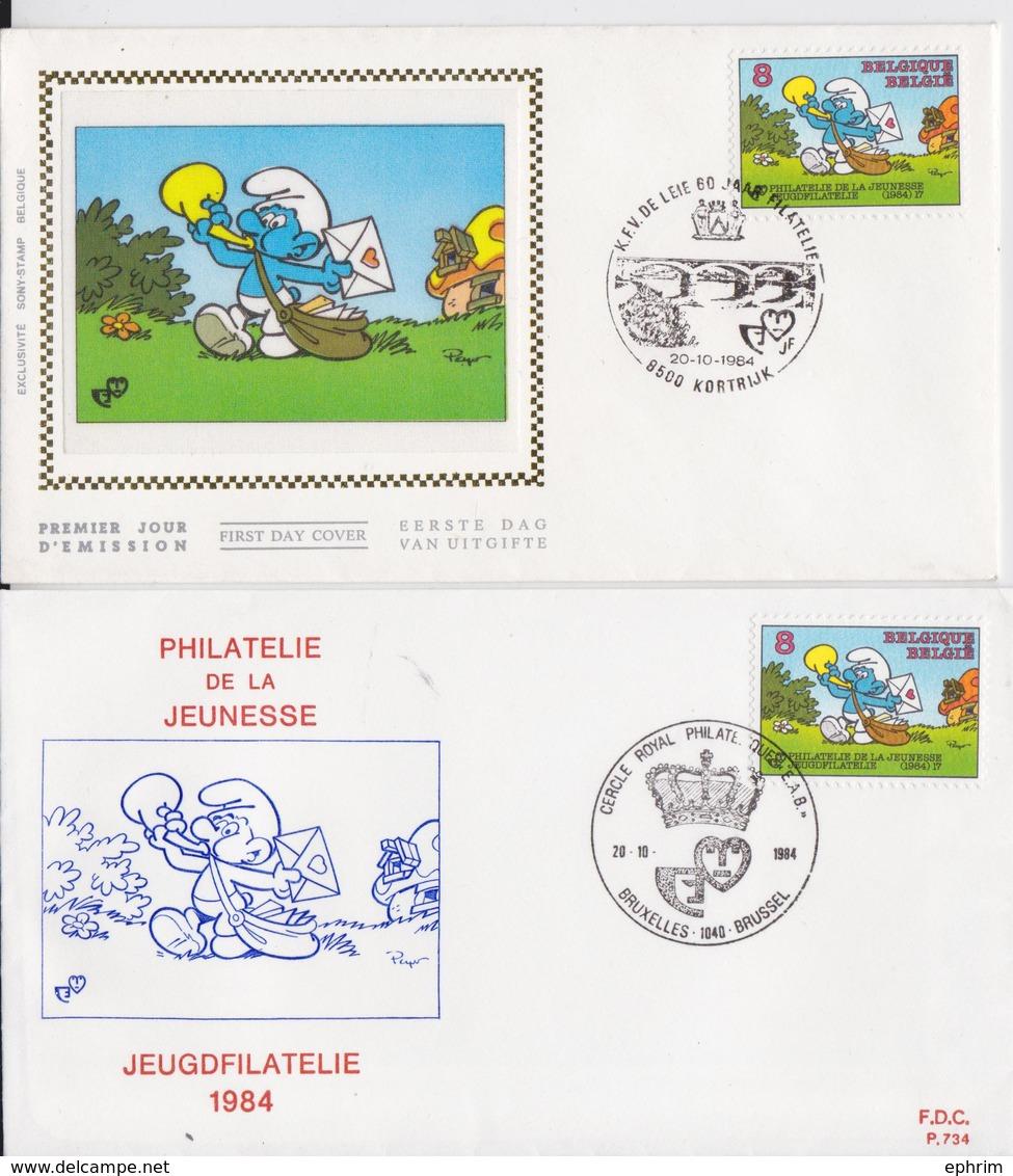 Les Schtroumpfs Smurfy Lot E 2 Enveloppes Belgique Philatélie Jeunesse Jeugdfilatelie Bruxelles Kortrijk 1984 - Bandes Dessinées