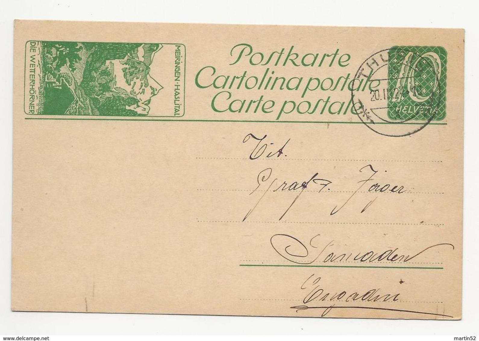 """Schweiz Suisse 1924: Bild-PK / CPI """"MEIRINGEN-HASLITAL DIE WETTERHÖRNER"""" Mit O THUSIS 20.III.24 Nach Samaden - Bussen"""