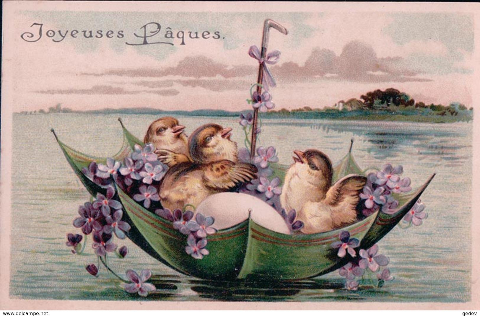 Joyeuse Pâques, Oeufs Et Poussins Voguant Sur Un Parapluie, Litho Gaufrée (721) - Ostern