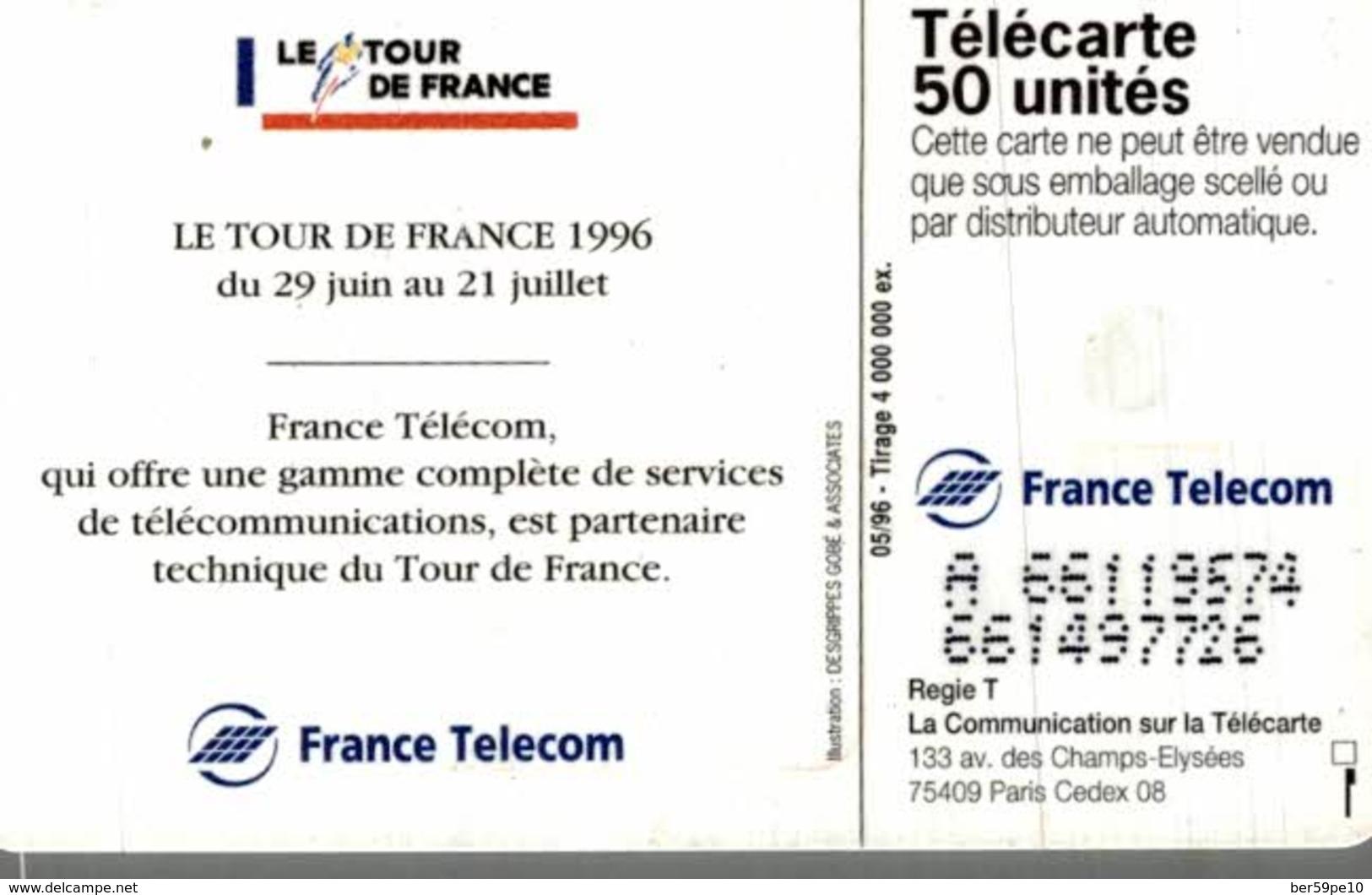 TELECARTE 50 UNITES LE TOUR DE FRANCE 96 - Sport
