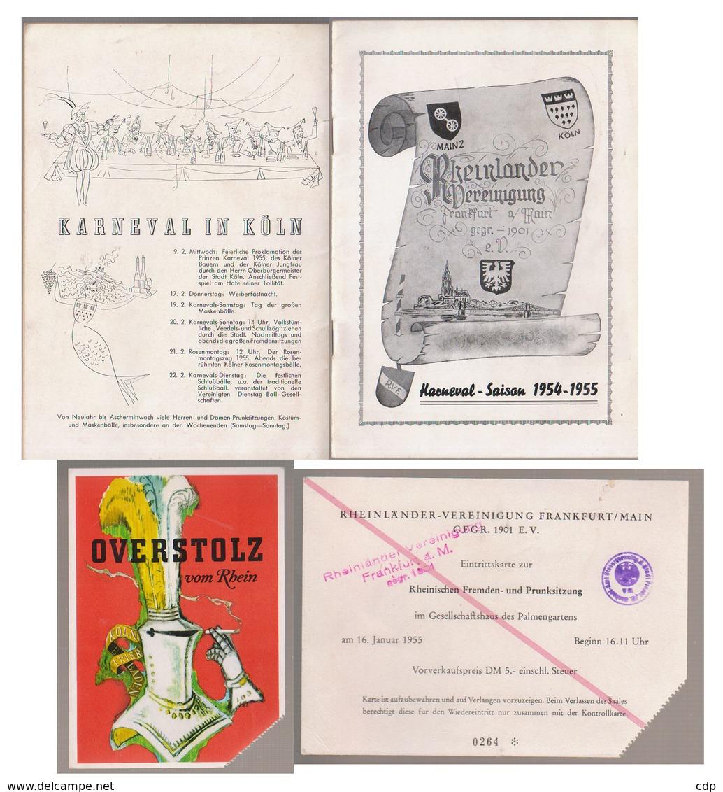 Allemagne   Carnaval  Saison 1954-55   Mainz  Koln - Programmes