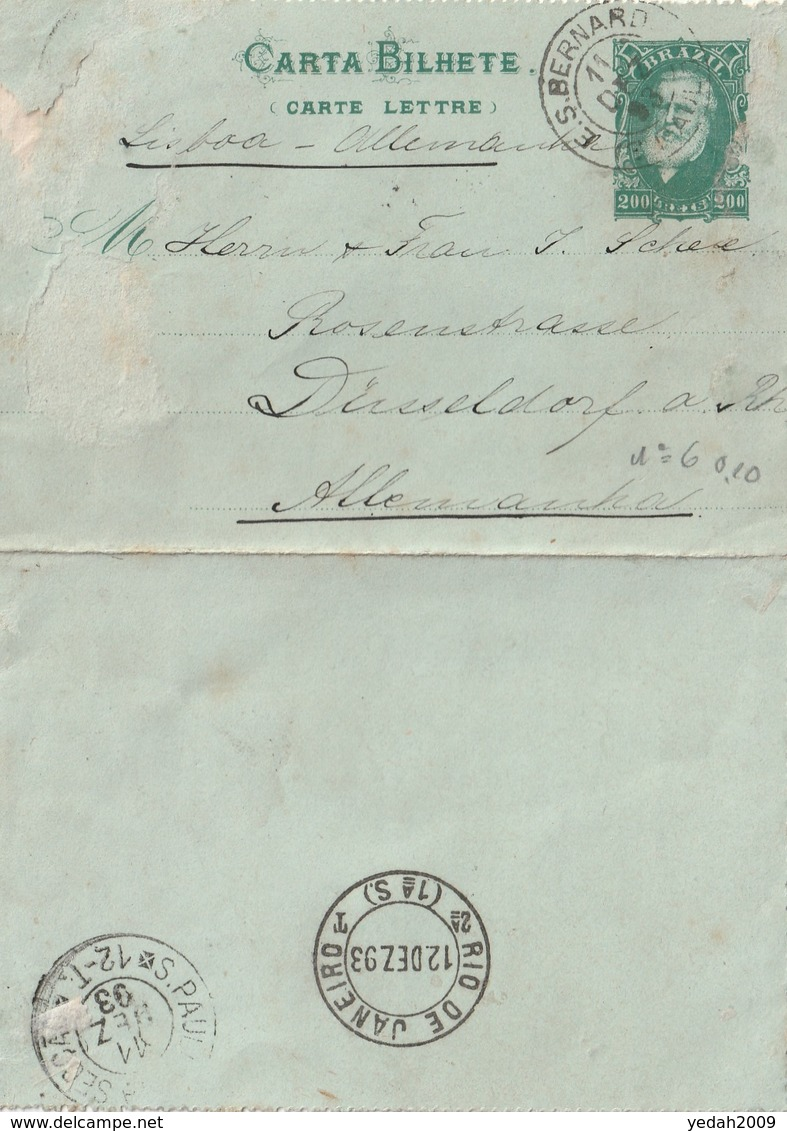 Brazil E.S.BERNARDO SAO PAULO POSTAL CARD Via Lisboa To Germany 1893 - Brasilien