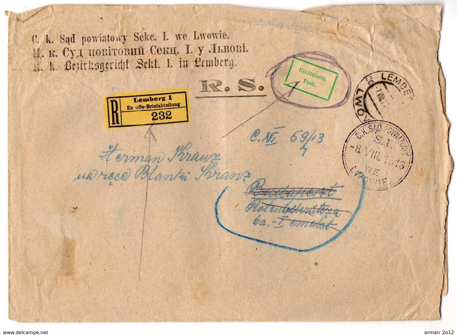 Poland Ukraine Lwow  Registered 1913 - 1850-1918 Empire