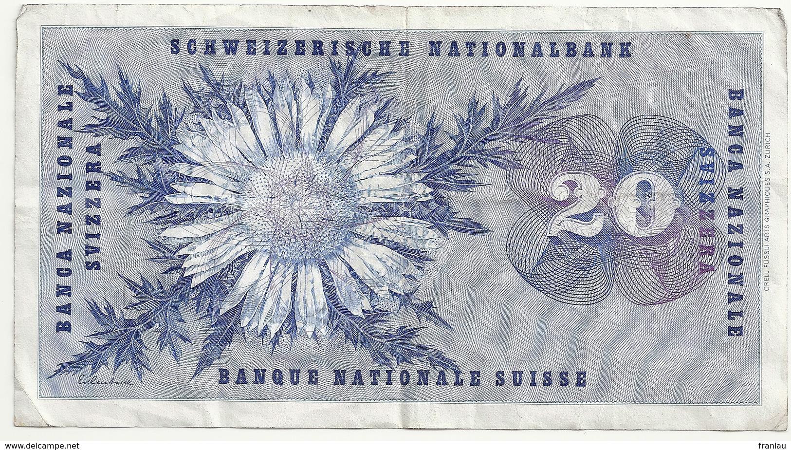 Suisse 20 Francs 15 Mai 1968 - Suiza