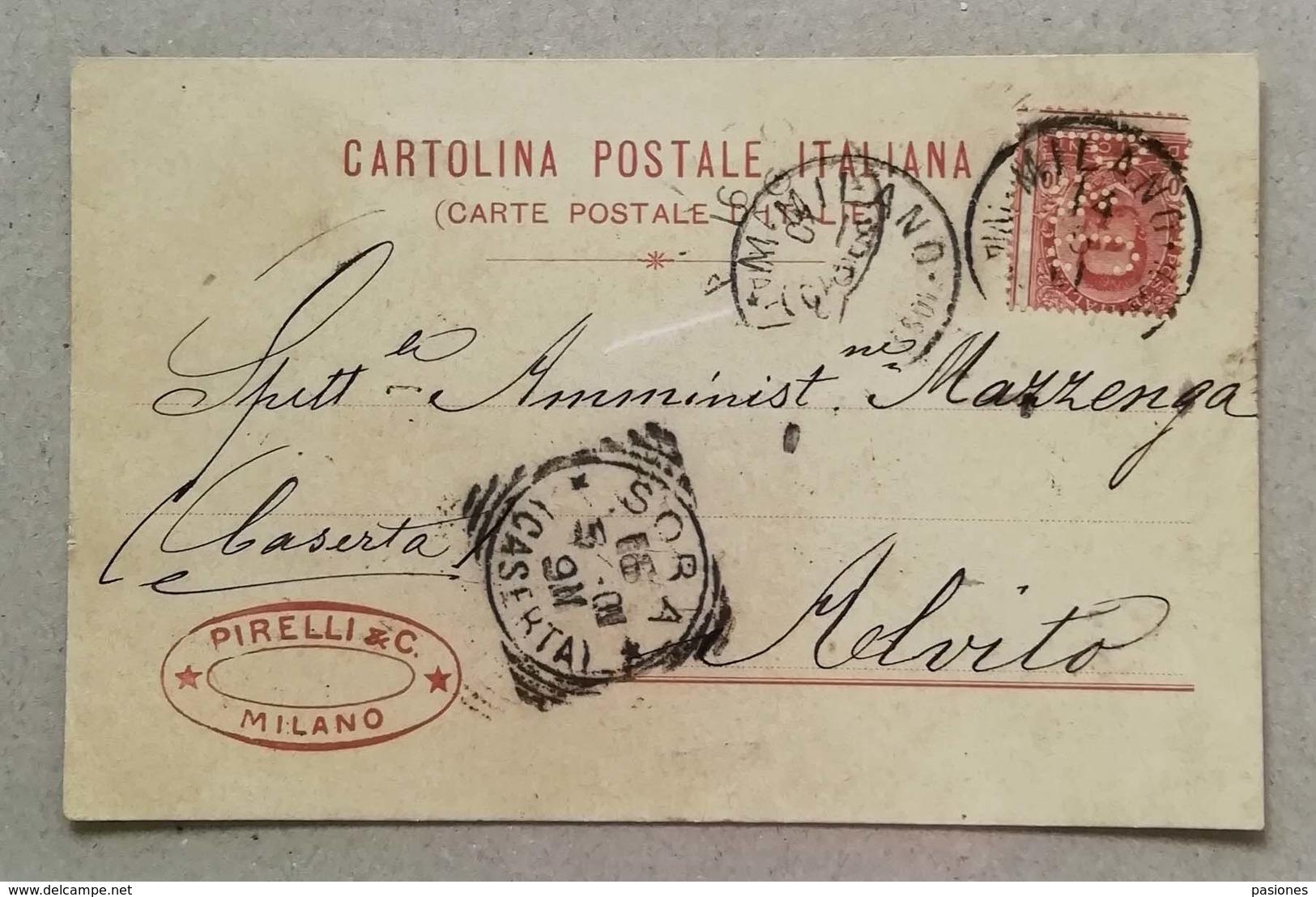 Perfin - Cartolina Postale Pirelli & C. Milano - 1901 - Marcofilía